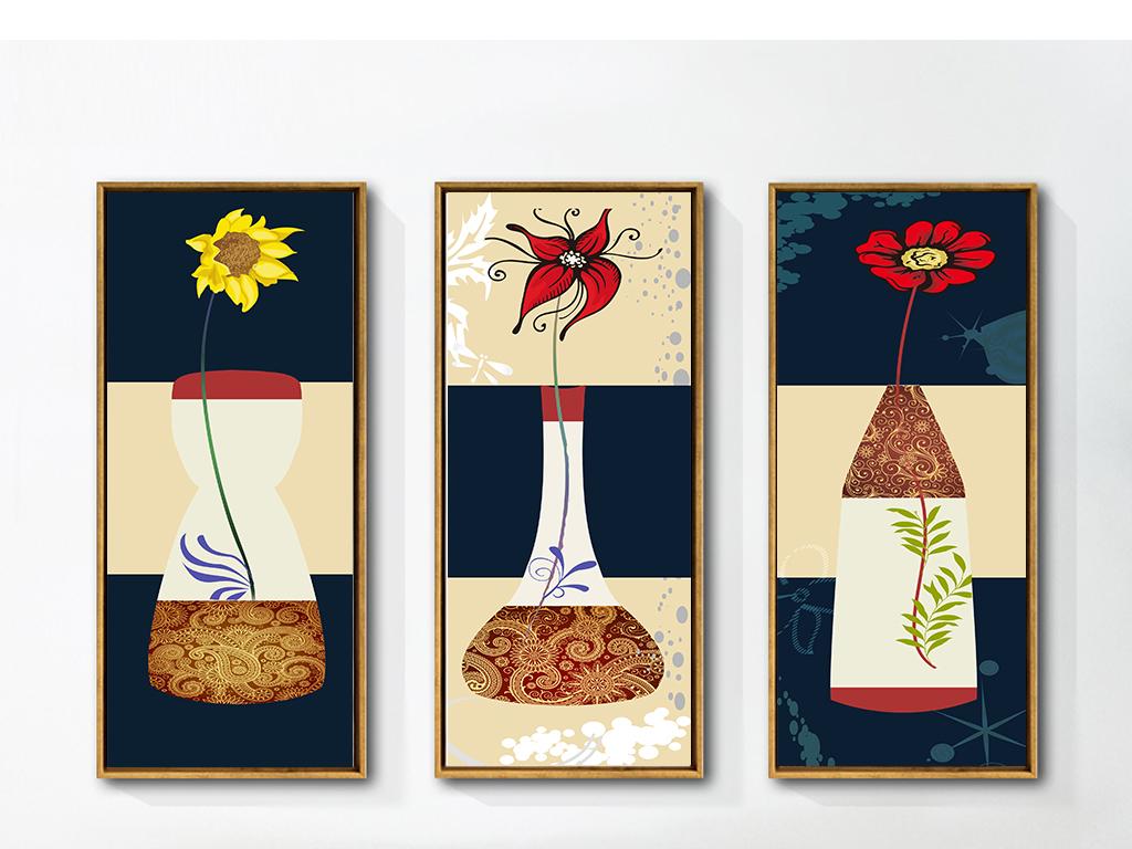 现代抽象艺术创意手绘瓶中花三联画无框画
