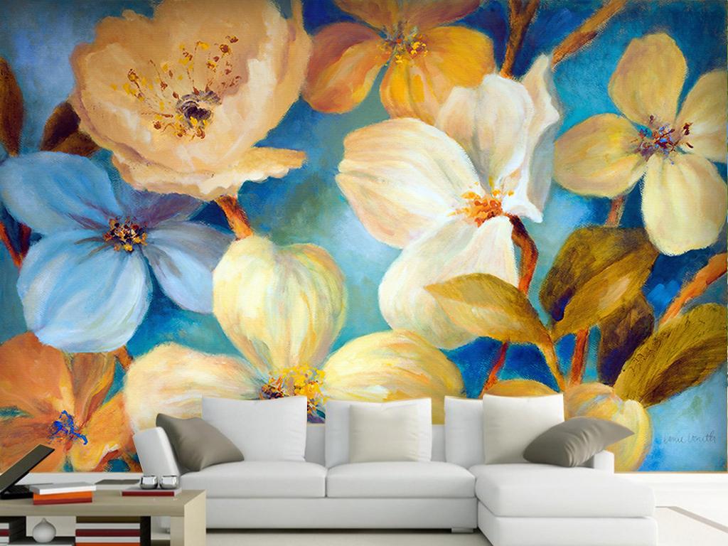 手绘鲜花现代背景墙