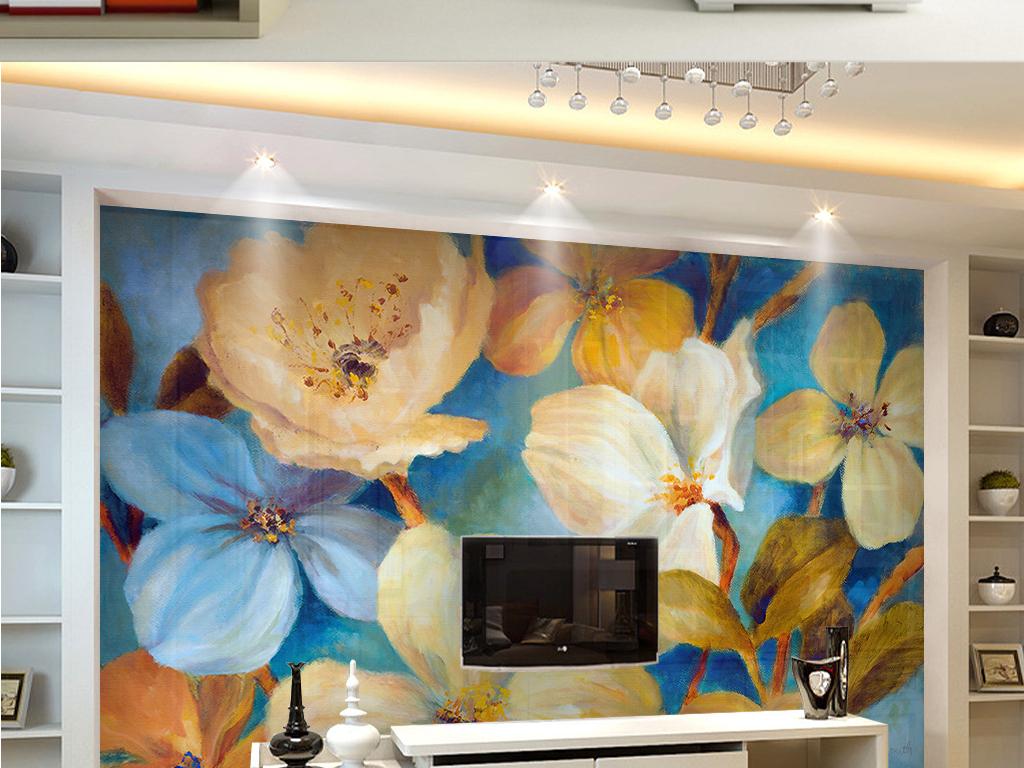 手绘鲜花现代背景墙(图片编号:15526707)_手绘电视墙