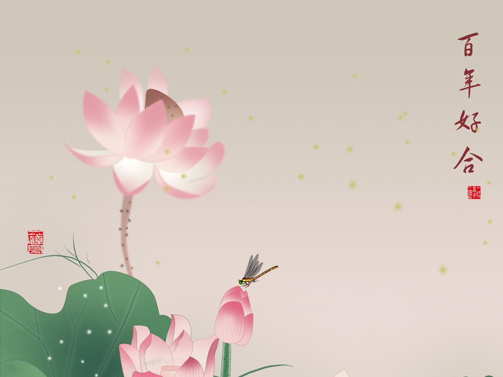 玄关手绘荷花(图片编号:15526955)_山水花鸟玄关图_我