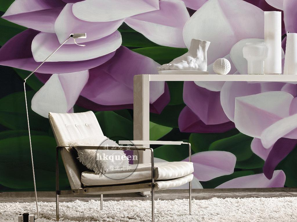 紫色浪漫唯美手绘花卉时尚简约背景墙