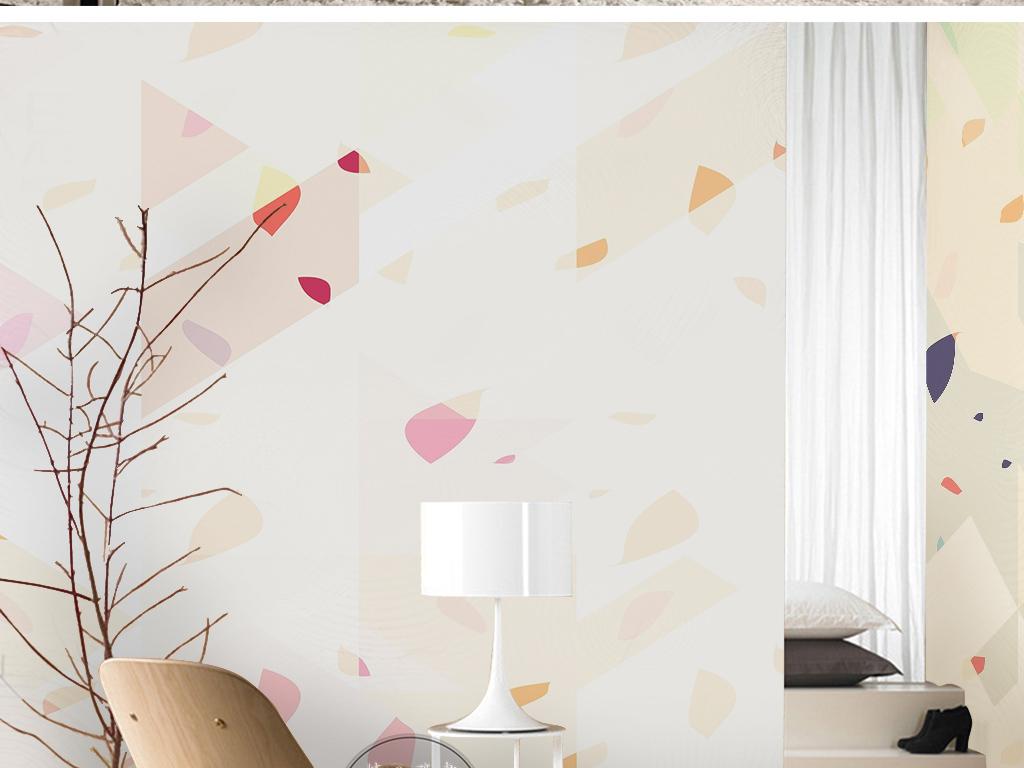 现代简约几何图形手绘图案小碎花背景墙