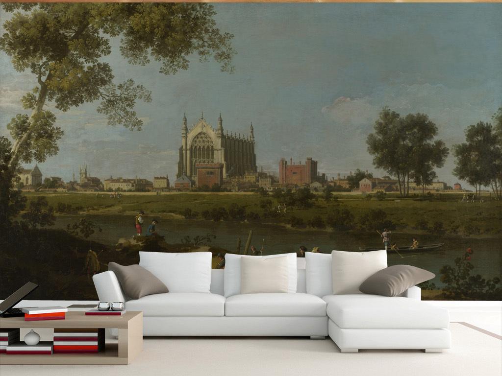 欧式写实油画伊顿学院电视背景墙