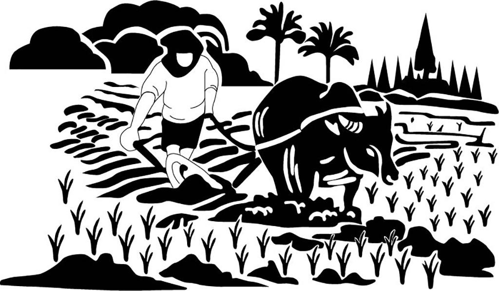 """包装矢量包装袋手绘花朵图案 【本作品下载内容为:""""农民拉牛耕作""""模板"""