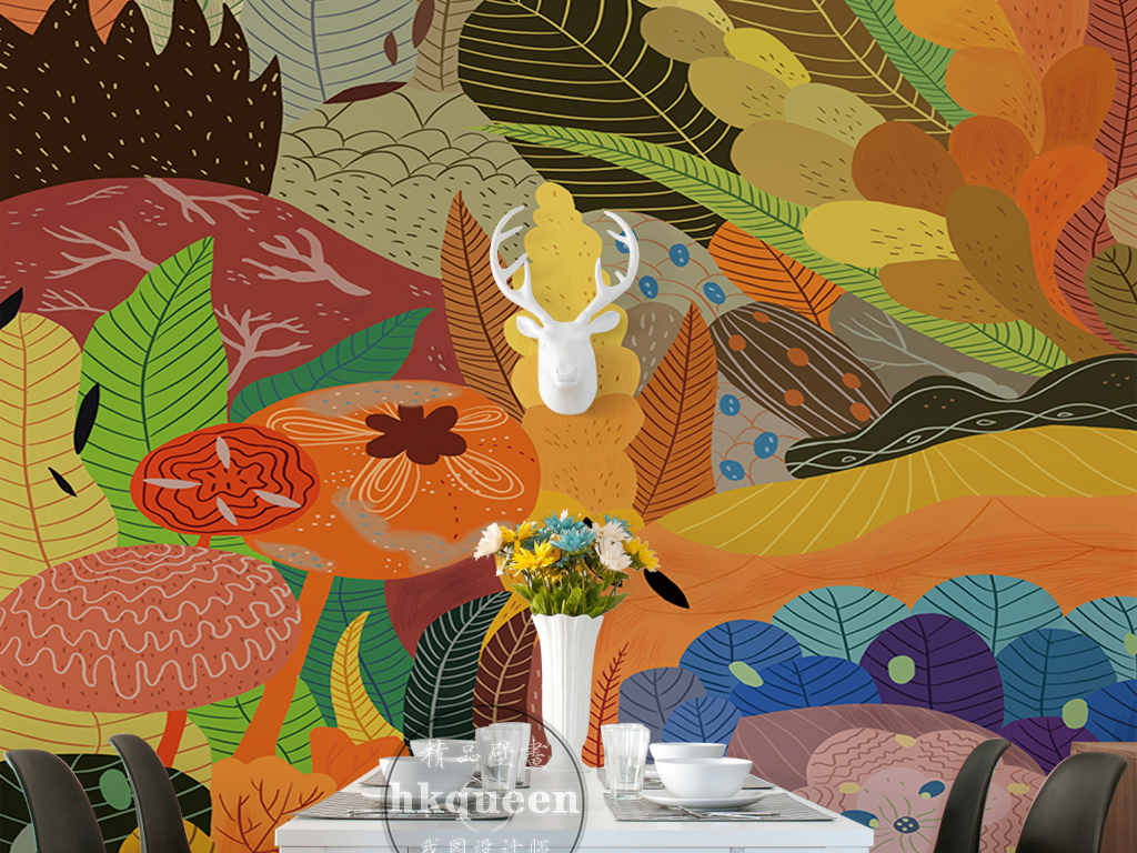手绘卡通动漫热带雨林植物花卉风景玄关过道