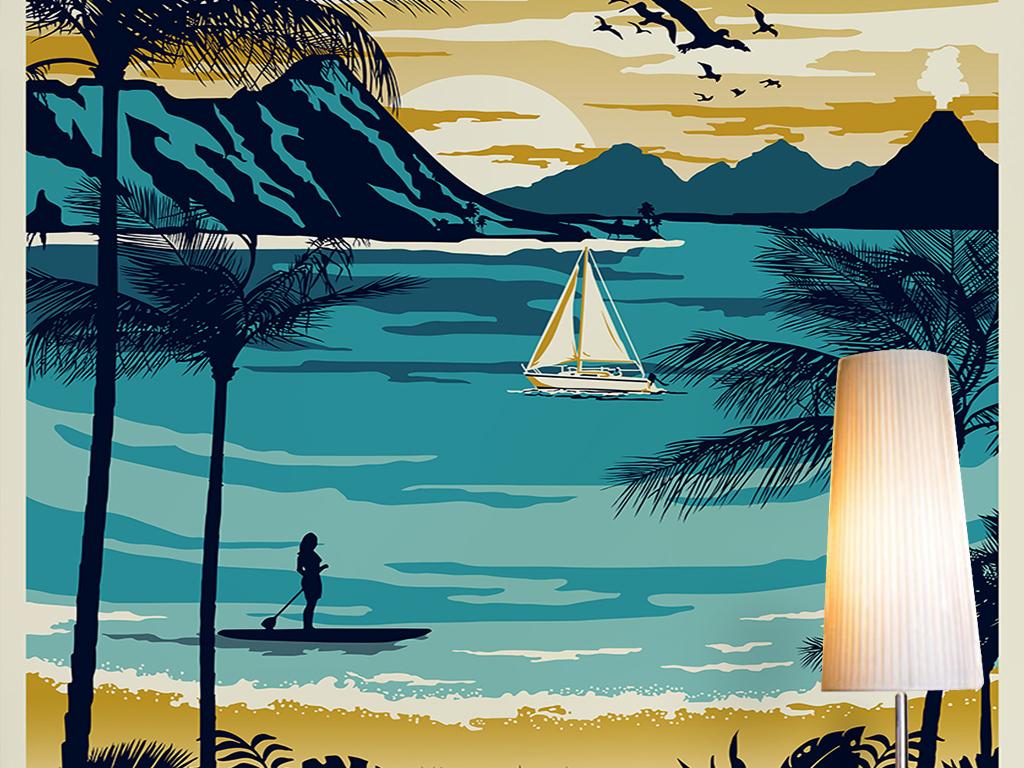 手绘海岛沙滩椰树飞鸟山峰抽象山水风景玄关