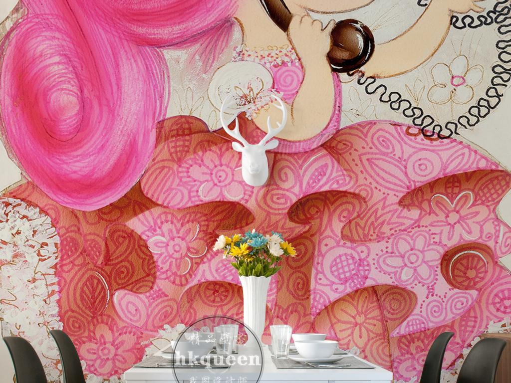 手绘粉色头发连衣裙小女孩打电话小碎花玄关