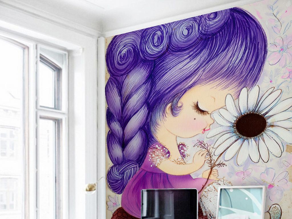 紫色头发手绘可爱小女孩雏菊花浪漫玄关过道