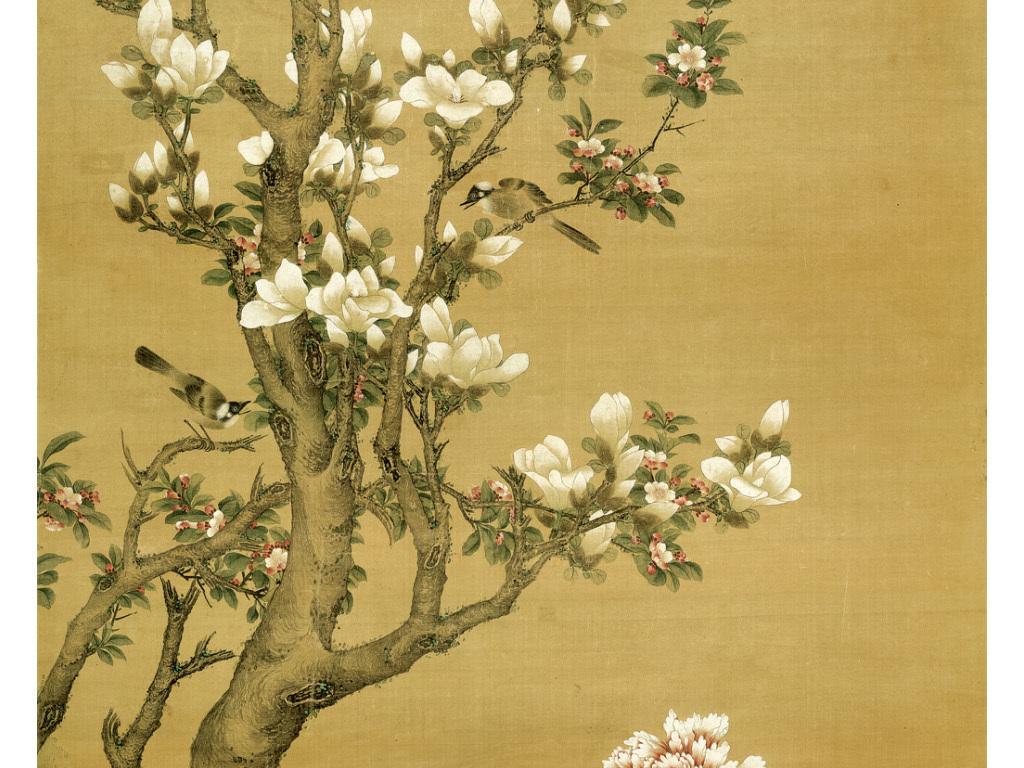 中式玄关背景墙装饰画清胡湄玉堂富贵图