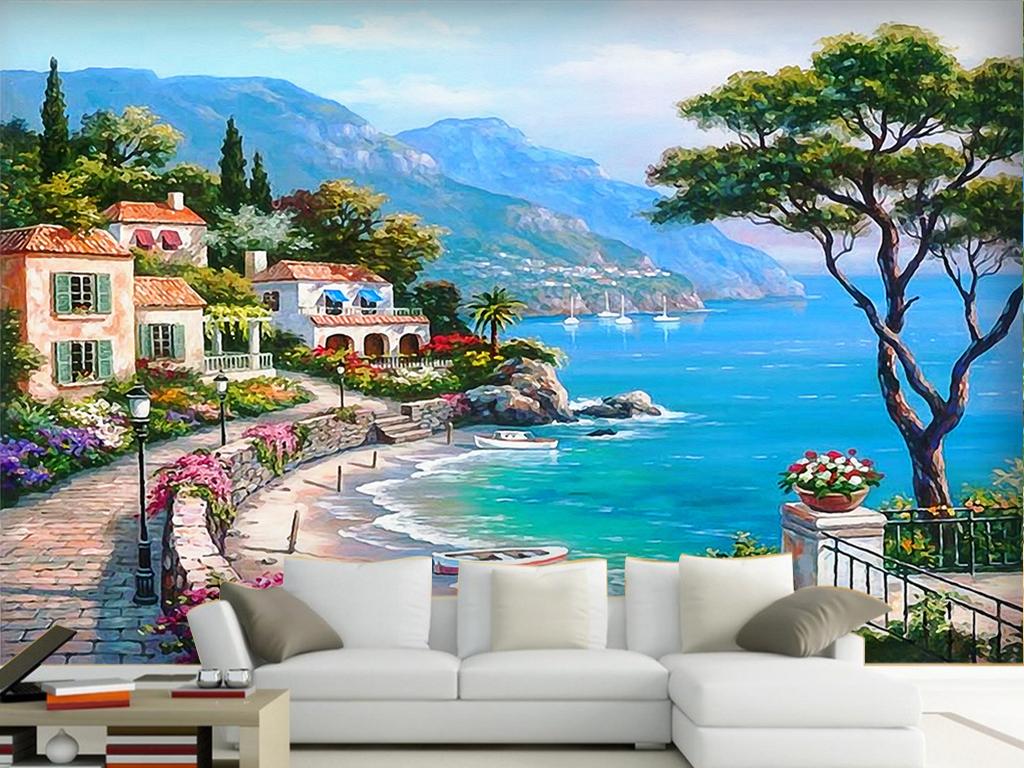 海景现代背景墙(图片编号:15528169)_手绘电视背景墙