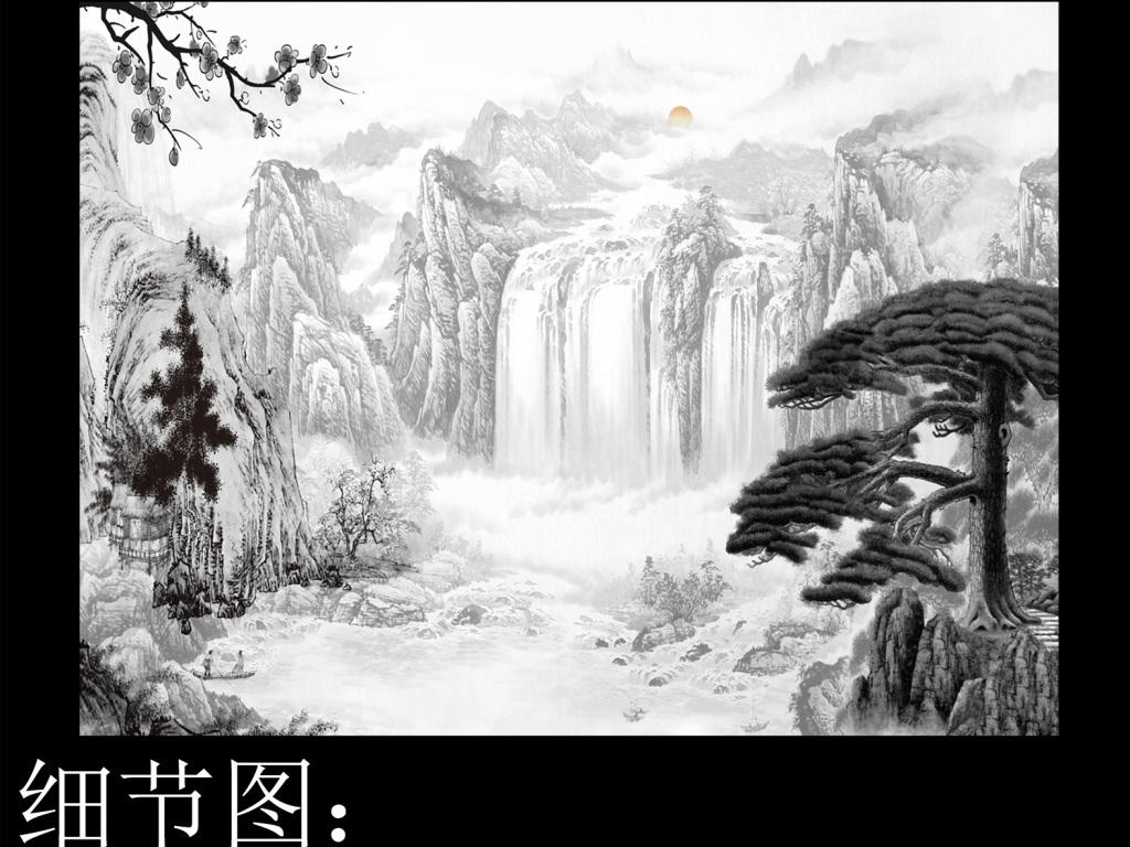 黑白水墨江山如画山水风景国画背景墙壁画图片