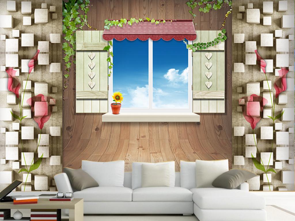 木墙窗户3d立体背景墙(图片编号:15528263)_手绘电视
