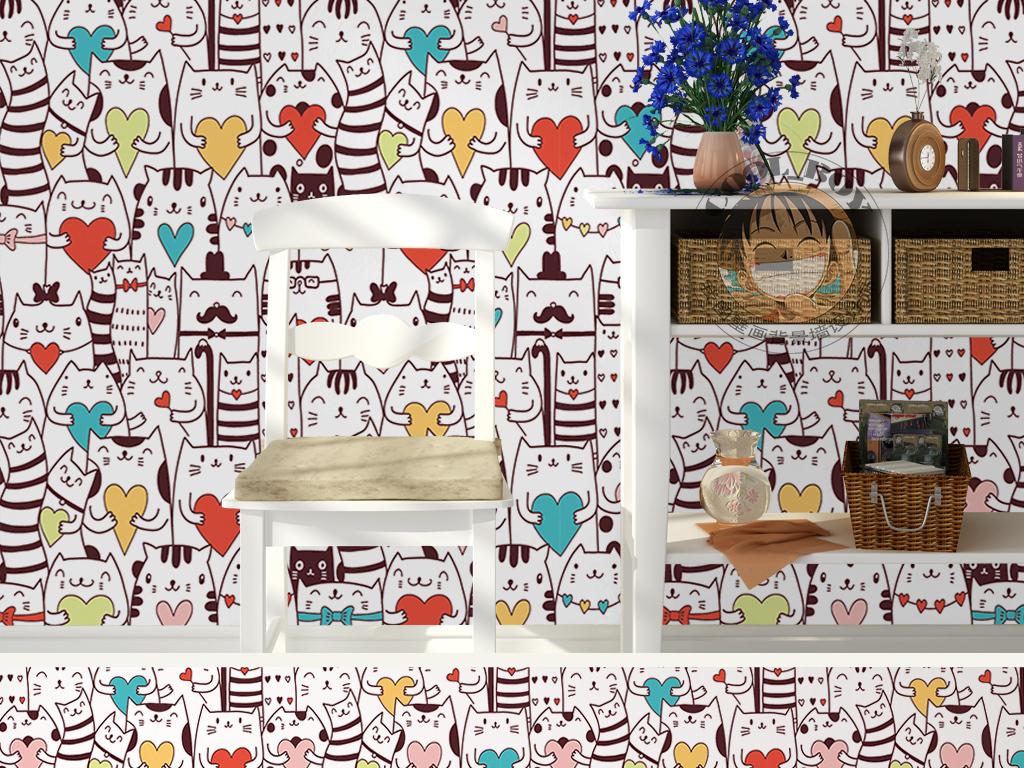 卡通动漫卡哇伊心形猫咪图案手绘儿童背景墙