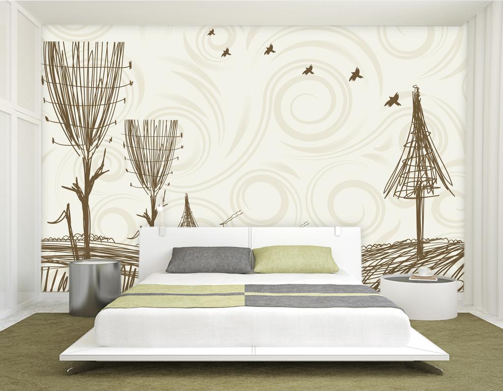 床头背景梦幻驯鹿手绘树木简约背景墙现代时尚形象墙简约现代现代简约图片