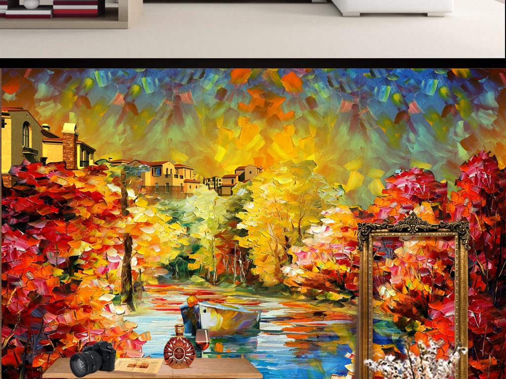 北欧手绘咖啡馆图案素雅风景墙纸油画壁画壁纸墙贴电视背景墙图片玻璃