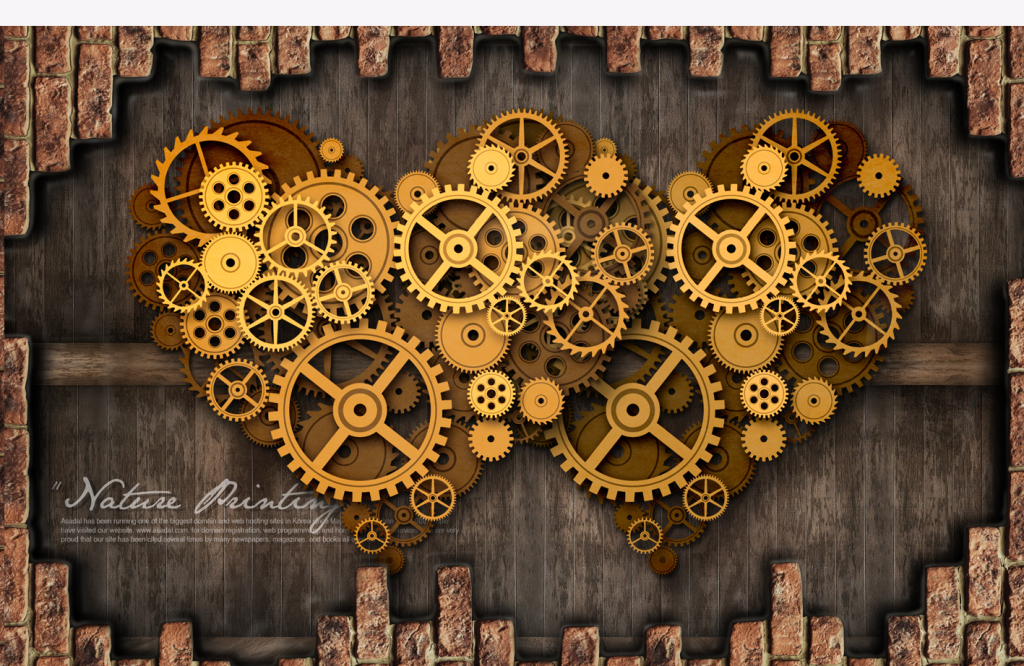 机械齿轮复古电视背景墙