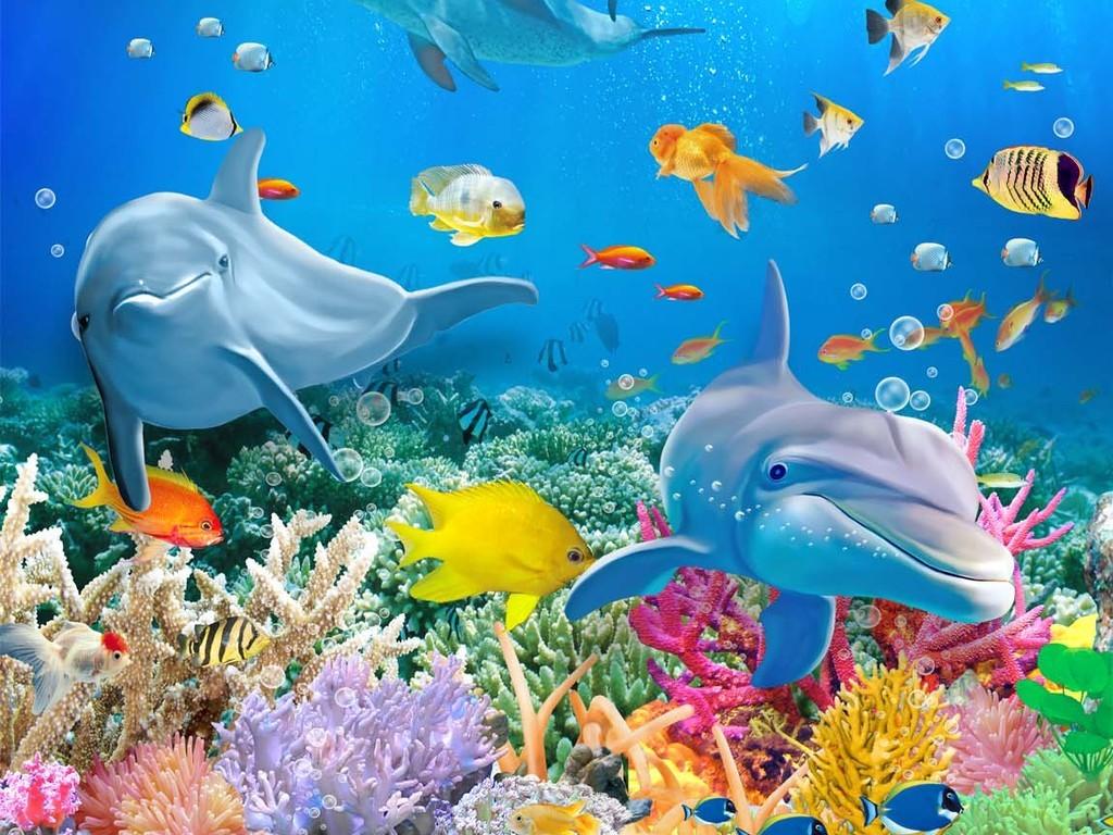 高清3d海底世界立体海豚地板