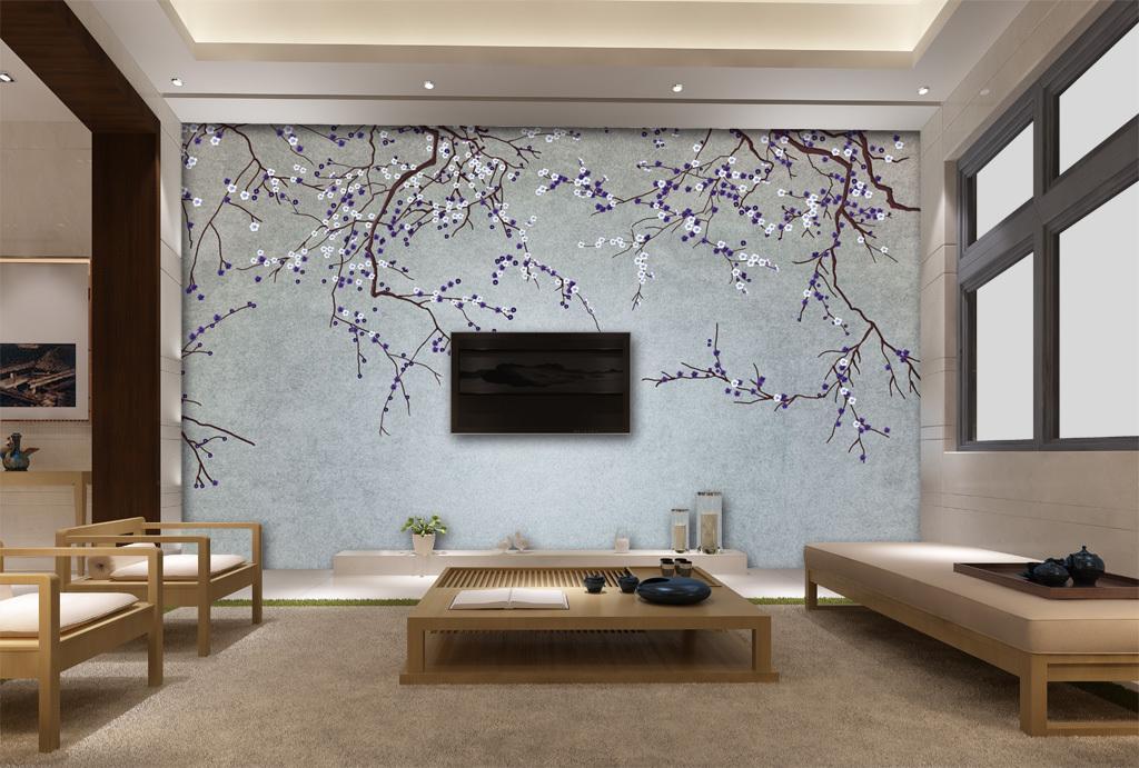 手绘梅花背景墙壁画手绘花鸟(图片编号:15530438)_墙
