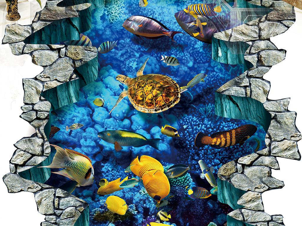 裂纹地裂蓝色3d立体画-狼3d立体画图片3d立体地板画3d地板立体画地画