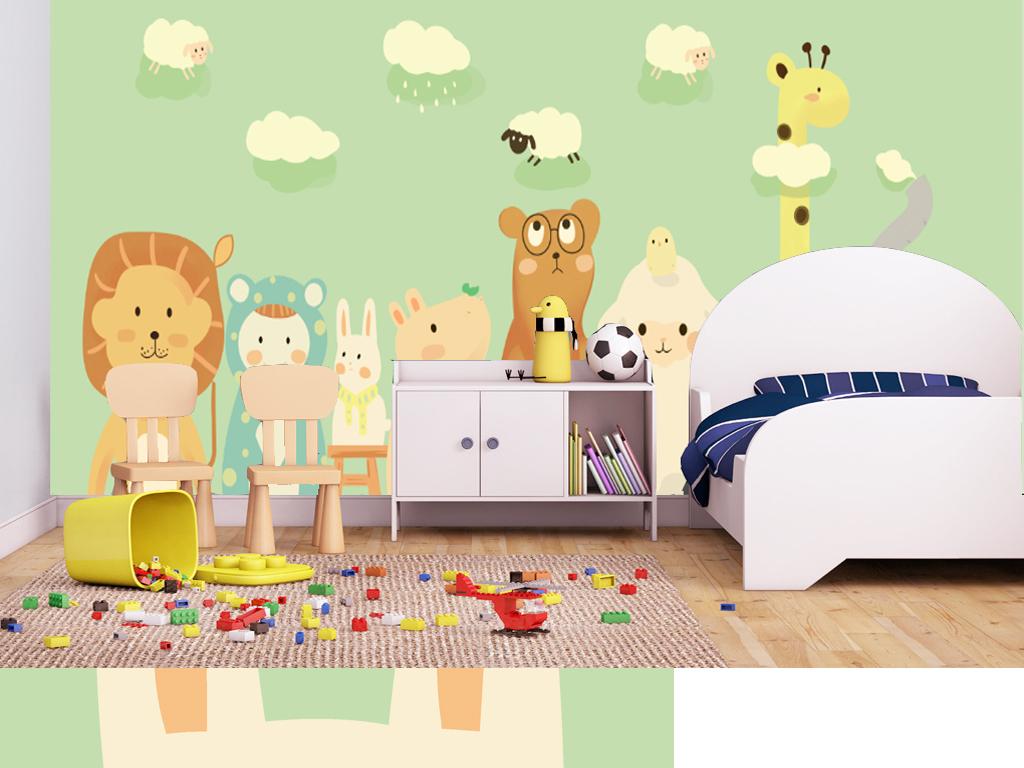 卡通手绘动物双款选择儿童房背景墙