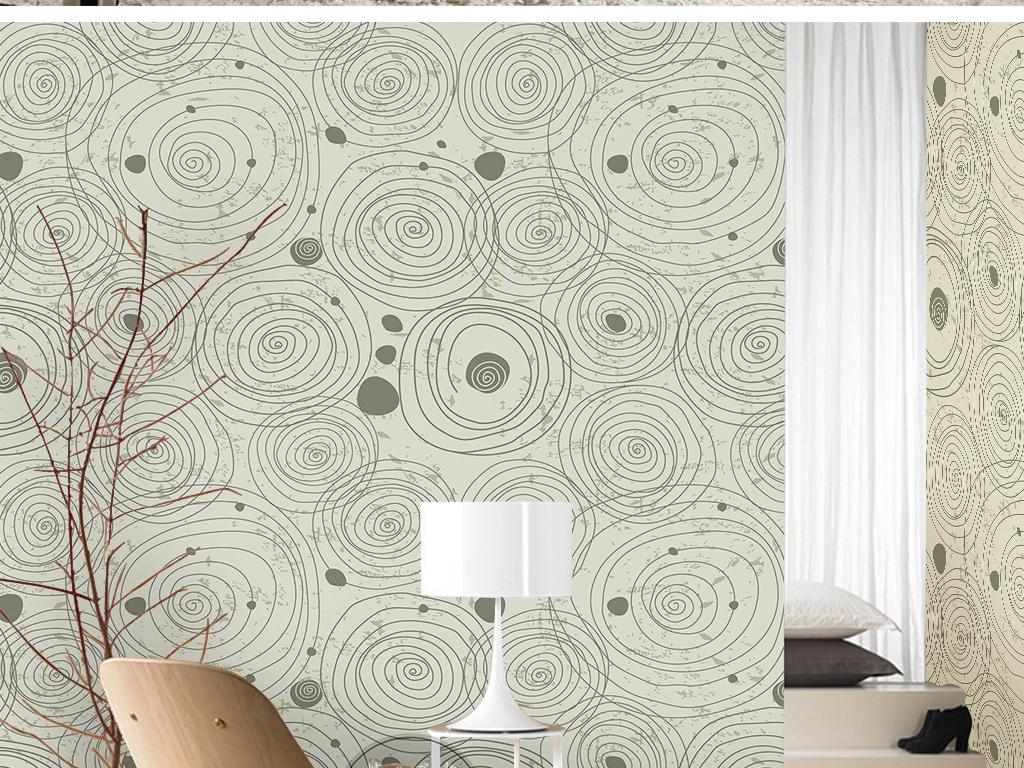 简单手绘圆圈图案几何图形素雅现代简约墙纸