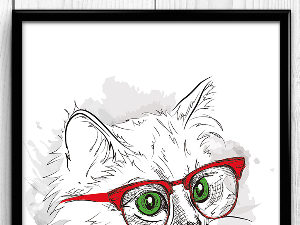 可爱猫咪手绘无框画