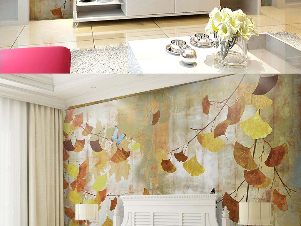 背景墙|装饰画 电视背景墙 手绘电视背景墙 > 银杏叶油画背景墙