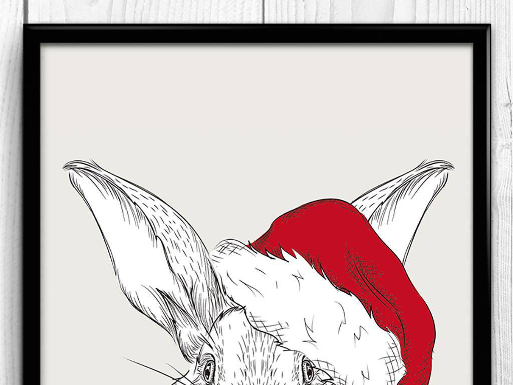 psd)小白兔室内装饰无框画动物装饰图案无框画手绘卡通无框画室内动物