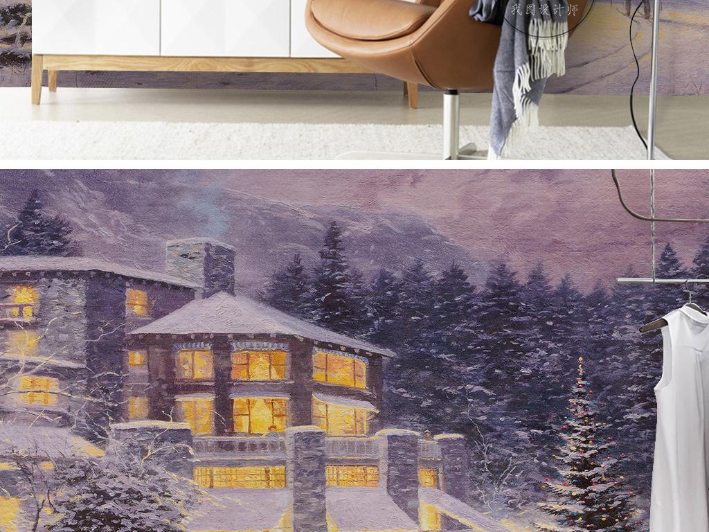 欧式复古温馨圣诞夜别墅灯火松树林背景墙