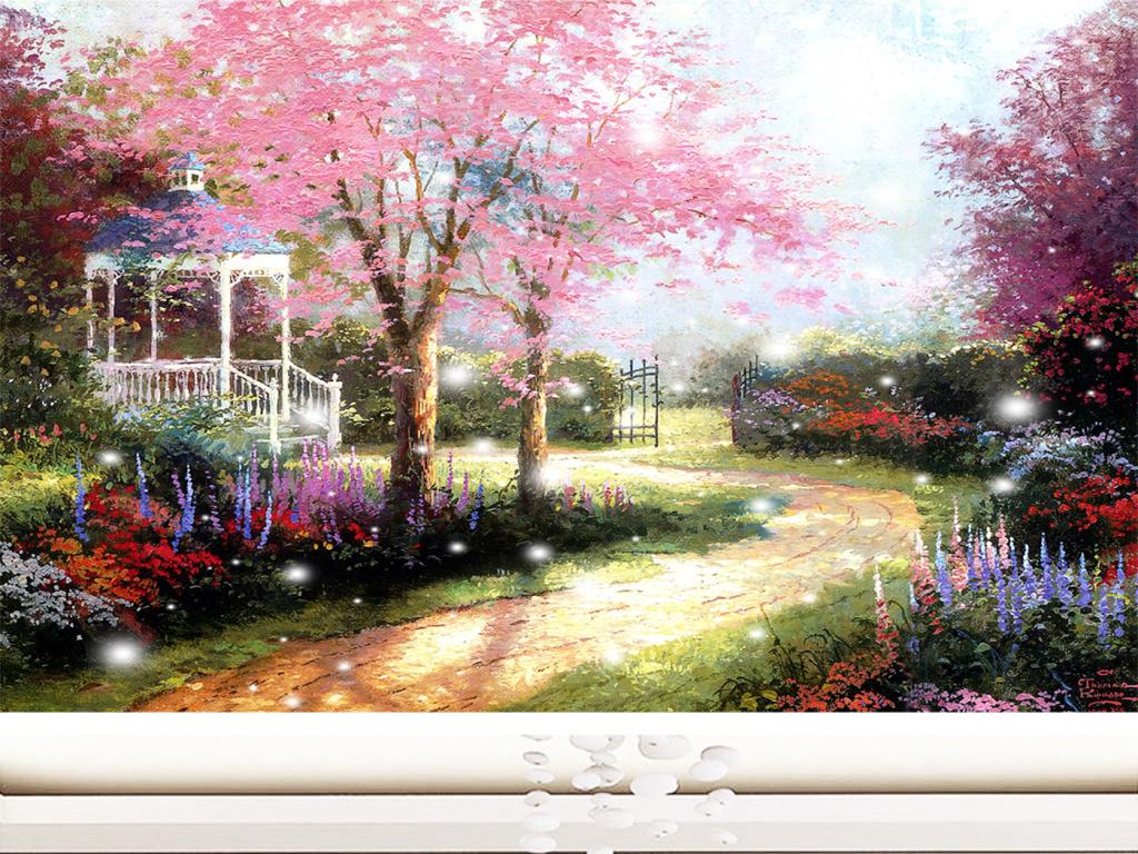 梦幻唯美雪中庄园北欧风格油画背景墙图片