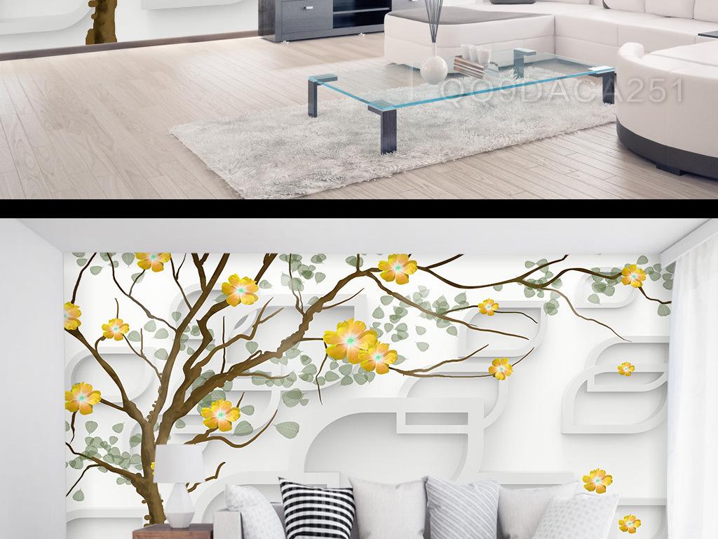 3d手绘树框框背景墙