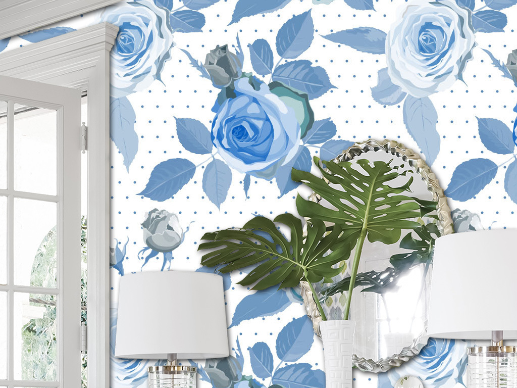 蓝色玫瑰花卉欧式墙纸