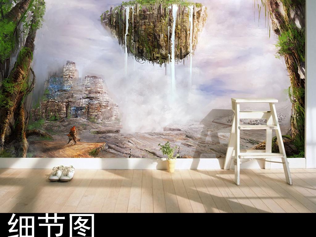 水彩手绘天空浮岛背景墙