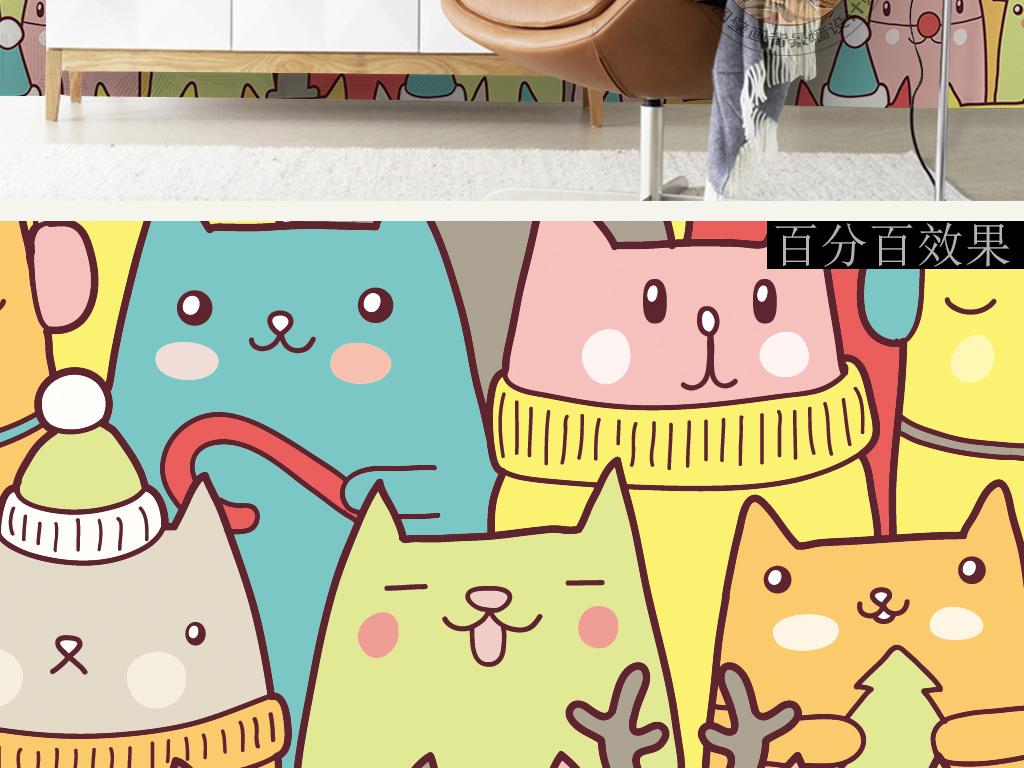 背景墙|装饰画 墙纸 现代简约墙纸 > 手绘卡通抽象猫咪音乐会耳机可爱
