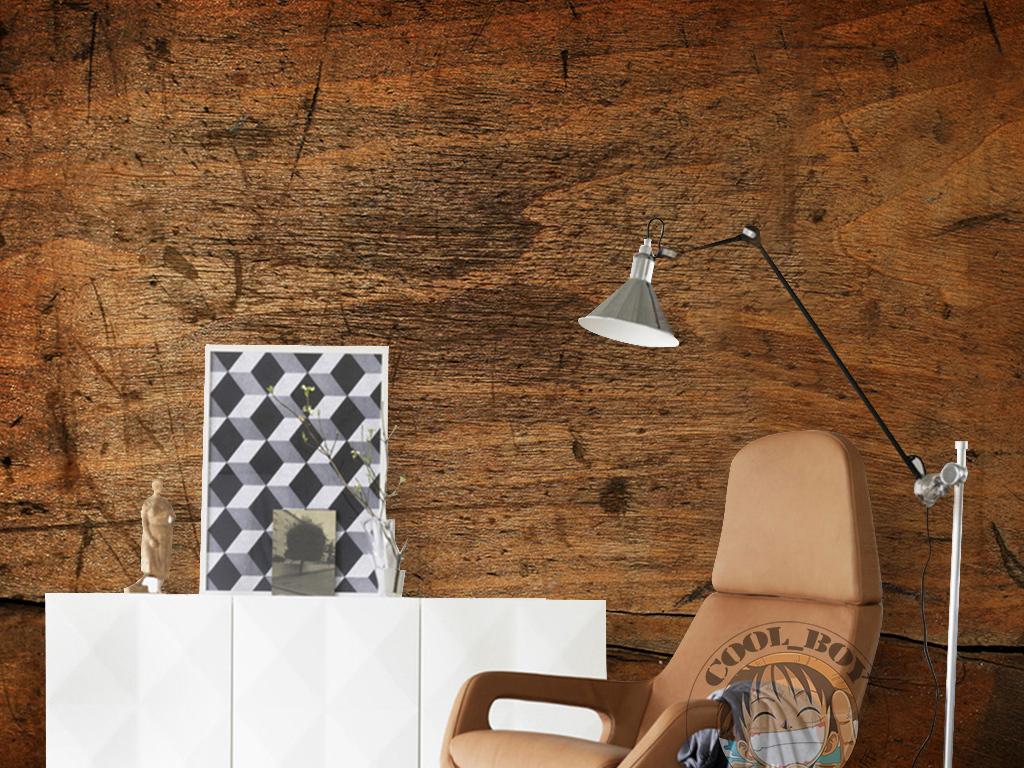 欧式复古怀旧手绘木板纹理刀刻痕迹背景墙