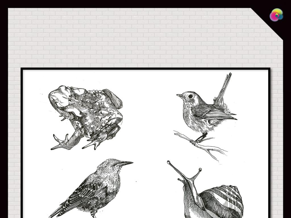 北欧现代简约手绘素描动物插画(图片编号:15532572)