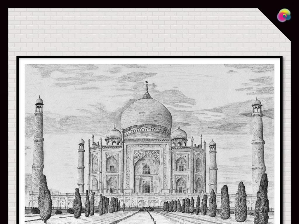 建筑欧美复古怀旧简笔画高清线描速写北欧时尚地中海黑白素描风景写生