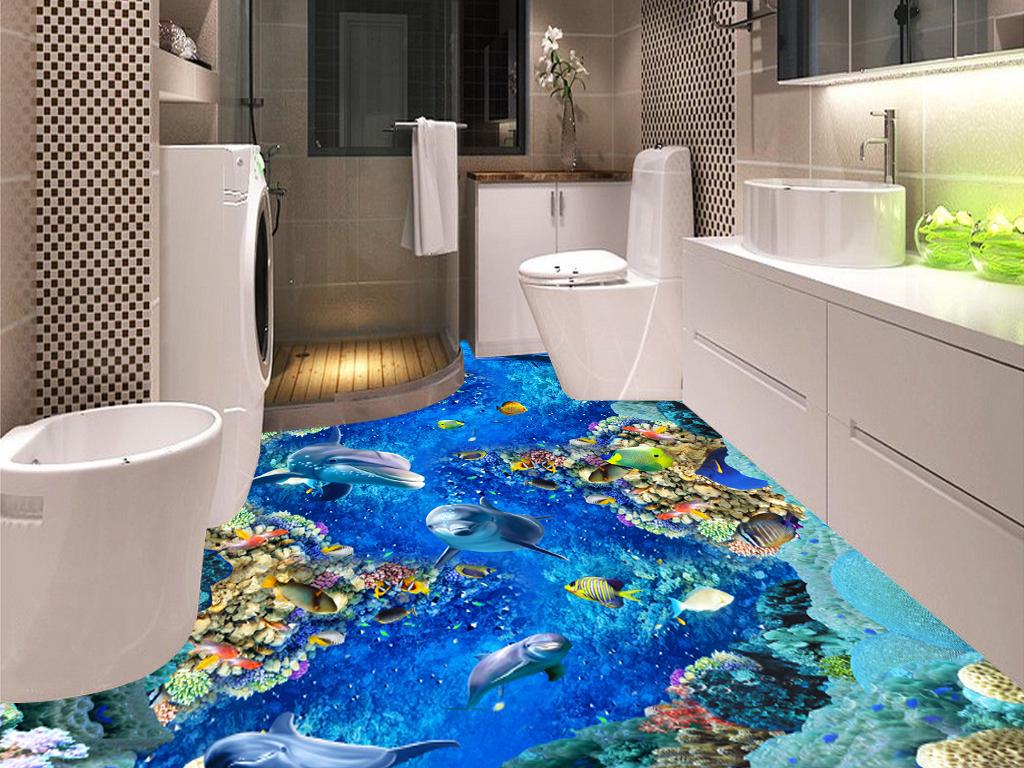 海底世界海豚浴室厨房走道3D立体画地板
