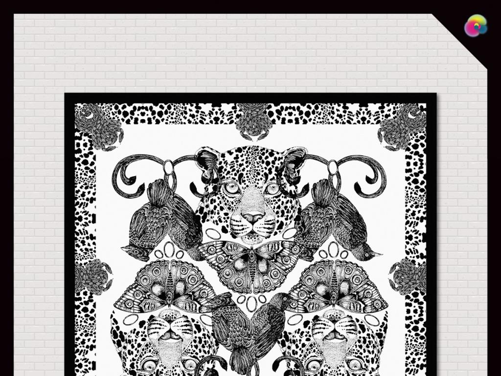 手绘豹纹复古抽象印花图案丝巾插画