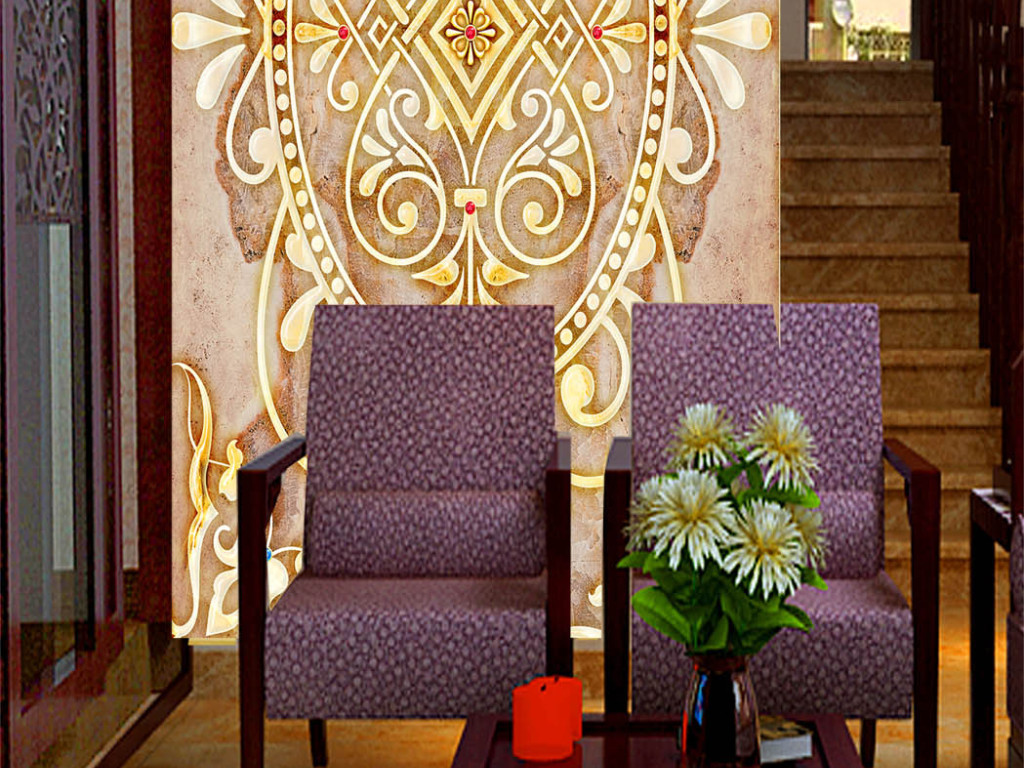 大理石玄关图片下载玄关壁画隔断屏风酒店玄关欧式