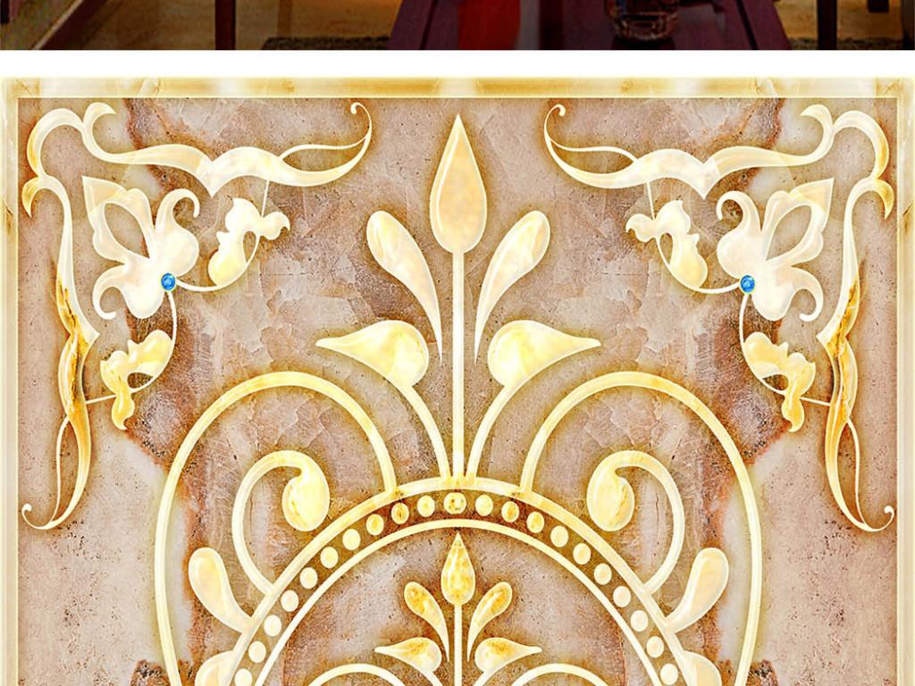 瓷砖大理石玄关大理石纹3d欧式花纹简欧皇室飞花花纹钻石宝石奢华壁画
