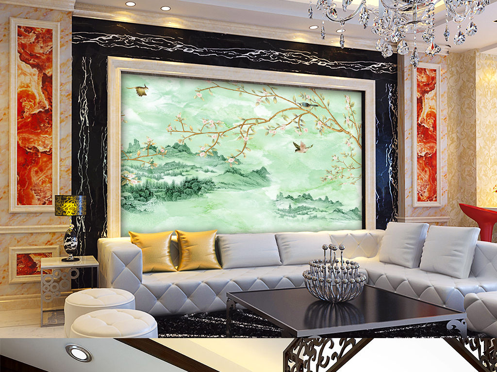 大理石纹山水花鸟电视背景墙