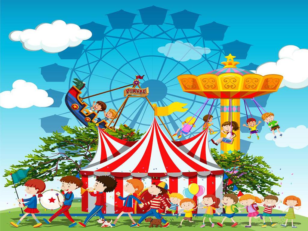 矢量卡通游乐园系列背景墙图片