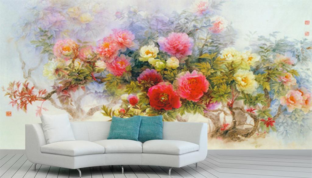背景墙|装饰画 壁画 手绘壁画 > 手绘月季玫瑰万花丛背景