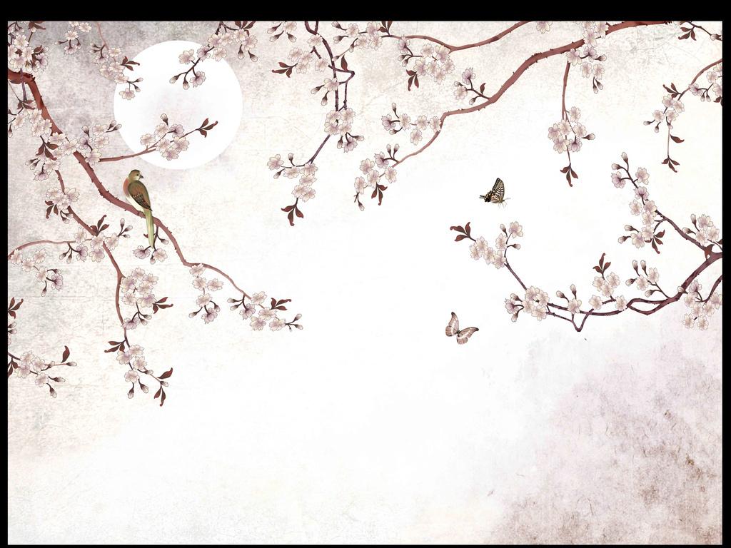 原创高清手绘花鸟复古背景墙