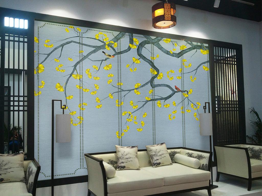 手绘金色银杏工笔画花鸟新中式壁