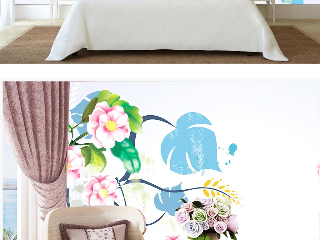清新素雅高清手绘茶树花室内壁纸墙纸