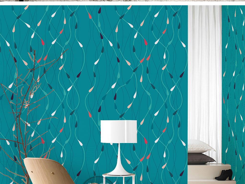 现代简约手绘蓝色底纹曲线简单线条墙纸图片