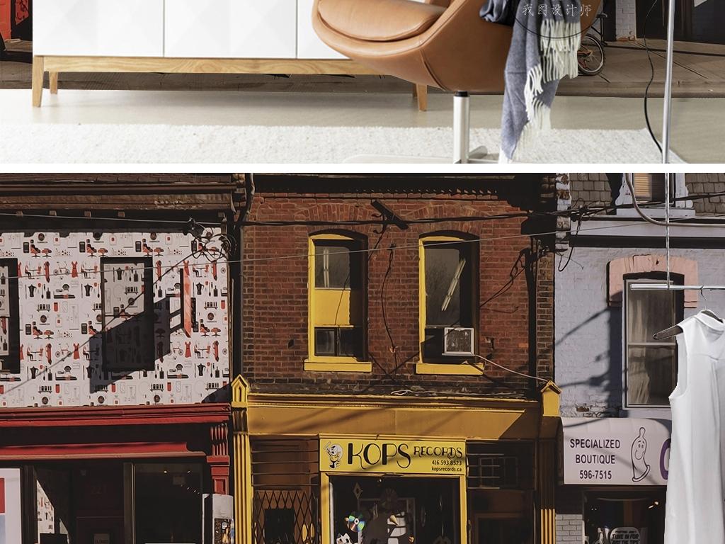 欧式复古创意商铺咖啡馆街道行人大气背景墙