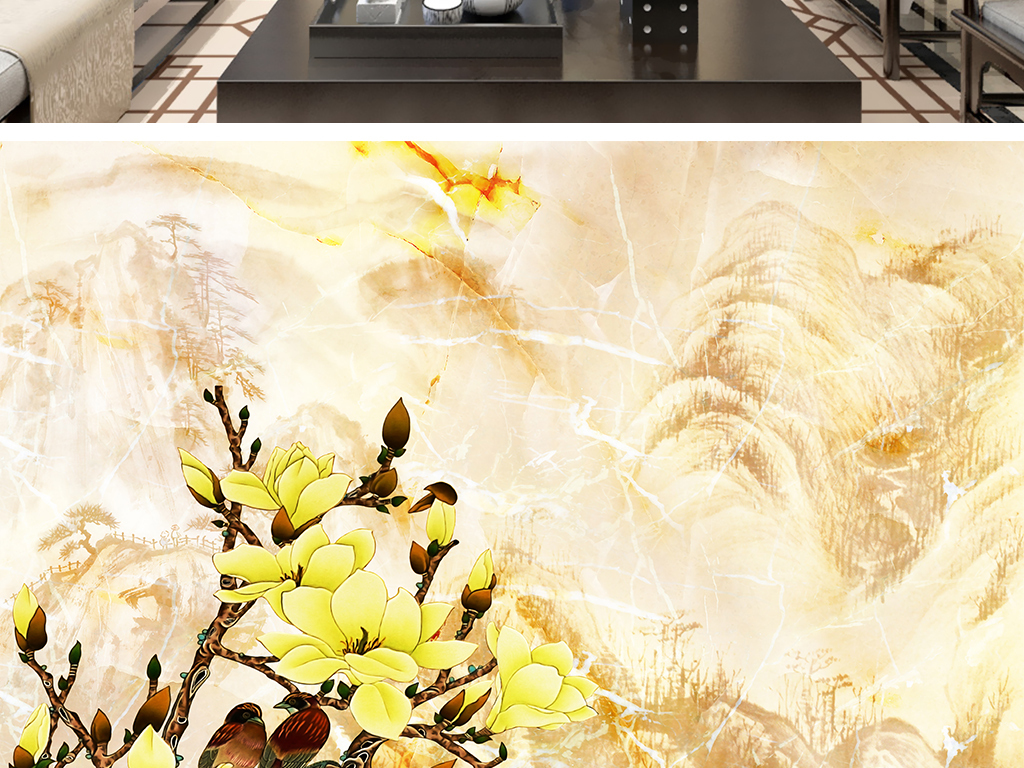 设计作品简介: 山水花鸟中式大理石纹壁画 位图, rgb格式高清大图图片